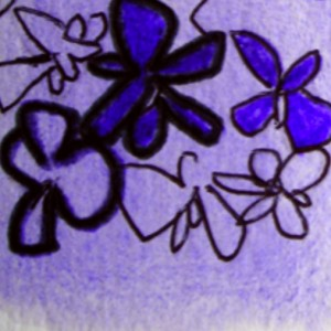Painting of a violet, Toulouse symbol and part of Toulouse GB logo